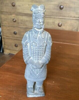 Vintage Chinese Terracotta Army Clay Warrior Soldier Statue Figurine, 8""