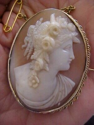 Antique Carved Shell Cameo Brooch FLORA with Flowers  VERY High Relief  OLD