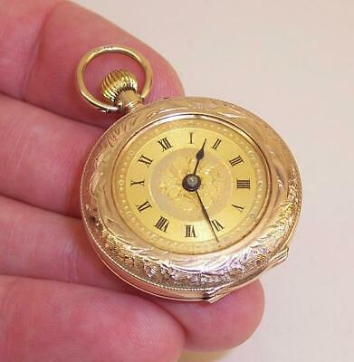 ORNATE Vintage/Antique 9ct SOLID GOLD Small POCKET/FOB WATCH - 18g Total Weight