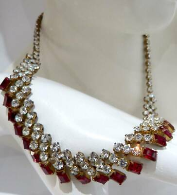 ANTIQUE ART DECO c 1930s CRYSTAL GLASS BAGUETTE STONES  FIRE RED GLASS NECKLACE,