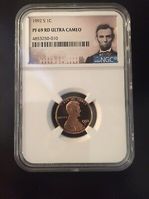 1992-S LINCOLN PROOF CENT 1c NGC PF69 RD ULTRA CAMEO (Portrait Label)
