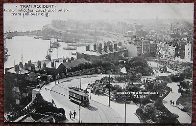 1905 Tram Accident Ramsgate Swaine Photographer Advertising Postcard Kent