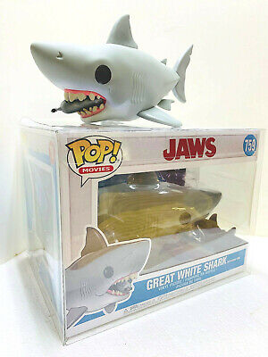 """Funko POP JAWS 6"""" SHARK WITH DIVING TANK MINT IN BOX WITH POP PROTECTOR"""