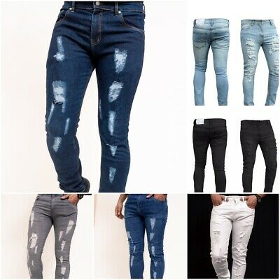 Mens Ripped Skinny Jeans Slim fit Stretch Denim Distress Frayed Biker Jeans Blue