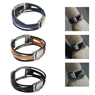 Replacement Soft Leather Wristband Band Strap Bracelet For Fitbit Charge 2 Watch