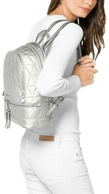 9f46d7968dd0 NWT!! Michael Michael Kors Rhea Zip Medium Quilted Leather Backpack $358  Silver