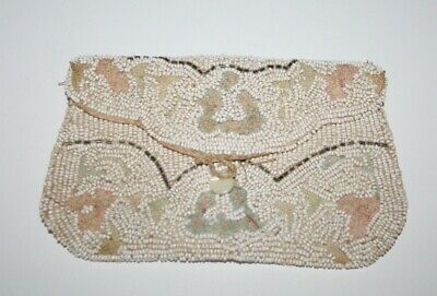 VINTAGE 1920/30s Art Deco Fully Beaded Cream EVENING PURSE - Wedding/Bridal