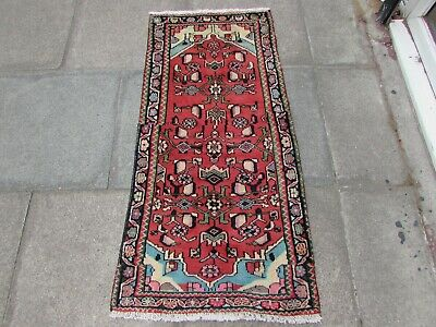 Old Hand Made Traditional Persian Rugs Oriental Wool Red Runner Rug 138x66cm