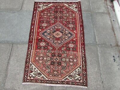 Old Hand Made Traditional Persian Rugs Oriental Wool Red Short Runner 135x81cm