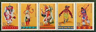 American Indian Dances Scott # 3072 - 3076 Mint NH 1996 Se-tenant Strip of Five