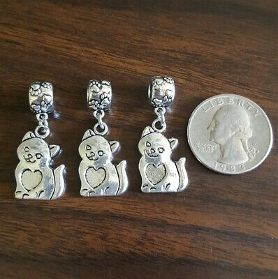 Lot of KITTY LOVE Antique Silver Pendant Charms W/Paw-Covered Bails 3 PCS