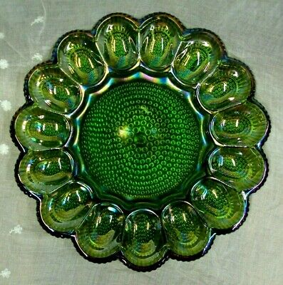 Vtg INDIANA GLASS ~ Bubble Hobnail ~ IRIDESCENT LIME GREEN Carnival EGG PLATE