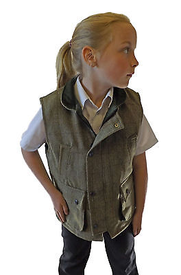 Campbell Cooper Classico Bambini Inglese Country Wear Gilet Tweed Verde