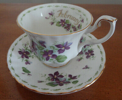Royal Albert Cup & Saucer, Flowers of the Month, Violets, February, 1970