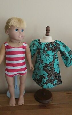 """Turquoise & Brown Floral Print Dress - Fits American Girl or 18"""" Doll"""