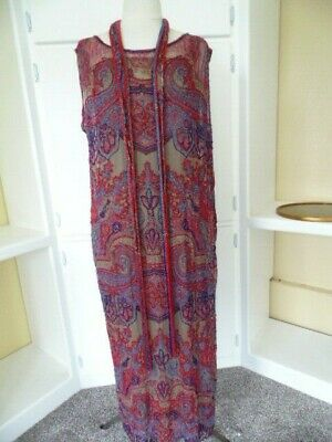 "Rare 1920s 52"" Long Beaded Flapper Dress Antique Silk 20s Full Length Gown"