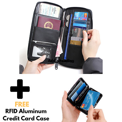 Genuine Leather Family RFID Travel Wallet Passport Holder Free Credit Card case
