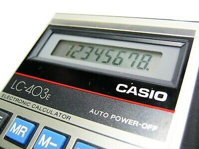 CASIO LC 403 E Vintage Electronic Retro Small Size Pocket Calculator Black Case