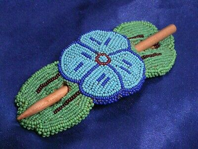 Vintage Hand Made Beaded Green South West Buckskin Leather Flower Hair Clip