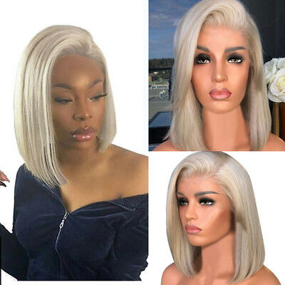 Fashion Womens Lady Ombre Wig Bob Short Straight Blonde Wigs Human Hair Cosplay