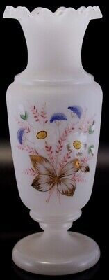 Antique Bristol Glass Vase White Satin Hand Painted Pink Blue Yellow Flowers