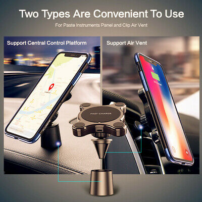 Qi Wireless Car Charger Magnetic Mount Holder For iPhone XR XS Max Samsung S10