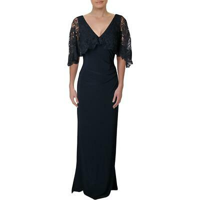 Lauren Ralph Lauren Womens Navy Crochet Capelet Formal Dress Gown 8 BHFO 4137