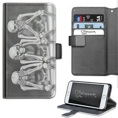 Skeletons Móvil, Cartera de Cuero, Funda para Samsung ,Apple, Sony