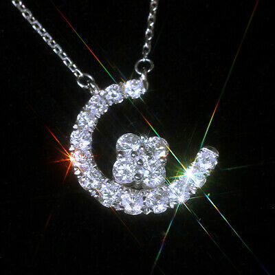 1Ct 100% Natural Diamond 14K White Gold Cluster Moon Necklace EFFECT 2Ct PWG54-5