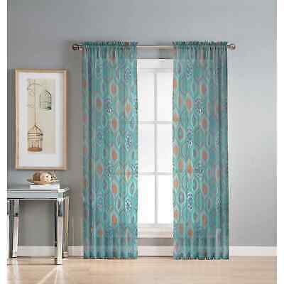 Window Elements Olina Printed Sheer Extra Wide 96-inch Grommet Curtain Panel -