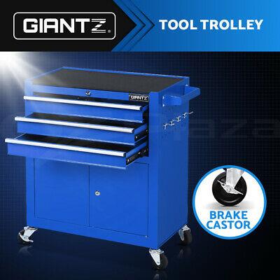 Giantz Tool Box Trolley Cabinet Toolbox Chest Cart Drawers Garage Storage Blue