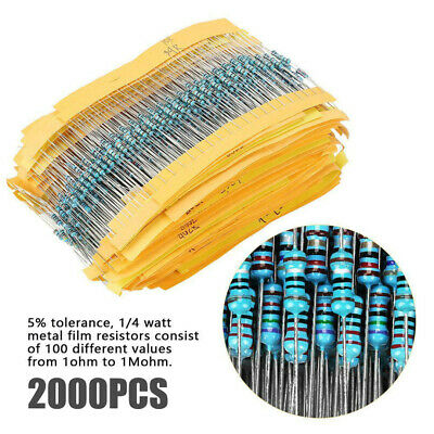 2000pcs/set 100 Values 20x ¼W Metal Film Resistors Resistance Assortment Kit
