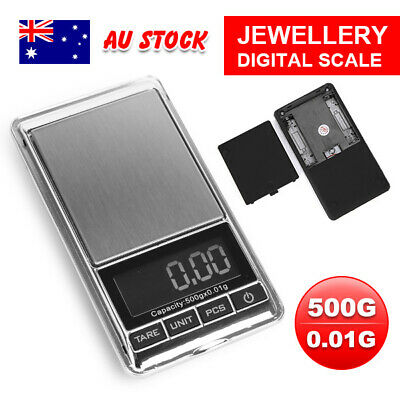 AU 500g 0.01 POCKET DIGITAL SCALES JEWELLERY ELECTRONIC 10 milligram micro gm