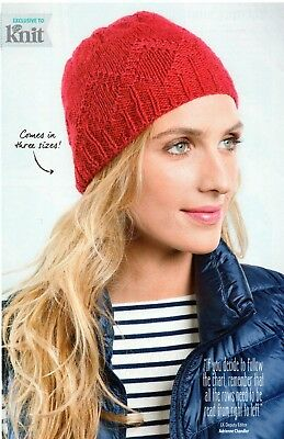 ~ Pull-Out Knitting Pattern For Lady's Pretty Beanie Hat ~