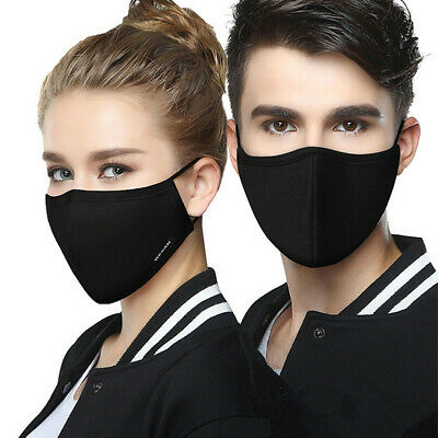 Anti-Dust Black Cotton Mouth Face Mask Respirator Unisex Mens Womens Cycling SPB