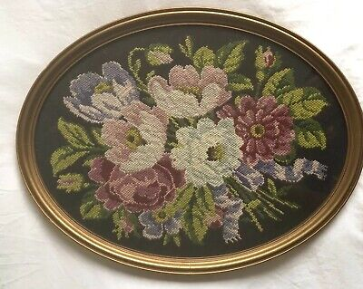 FANTASTIC Vintage floral Picture Completed CUSHION COVER ? !Tapestry Needlepoint