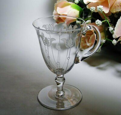 Signed THOMAS WEBB Vintage ANTIQUE Floral Engraved CRYSTAL CUSTARD CUP