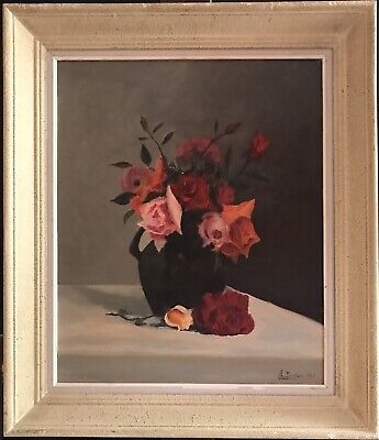 Vintage French Shabby Chic Signed Still Life Oil Painting - Roses In Vase Framed