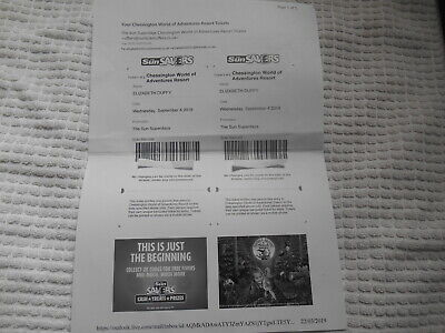 2 X Chessington World Of Adventure Tickets For September 4Th 2019
