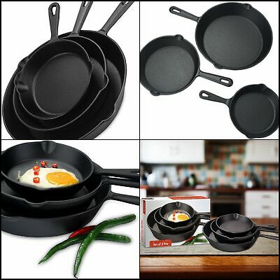 Pre Seasoned Pans Set of 3 Kitchen Pans Cast Iron Skillet Fry Pan Cookware