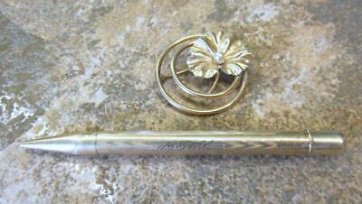 Lot of Vintage 12KT Gold Filled Brooch / Pin and Rolled Gold Pencil ~ 7-I5273
