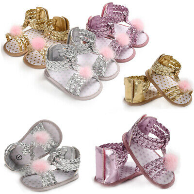 HOT Fancy Infant Baby Girls Summer Sandals Toddler Baby Princess Soft Sole Shoes