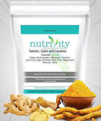 Turmeric,Garlic &Cayenne 1000mg Tablets High Strength Bodygenix Free Fast Post