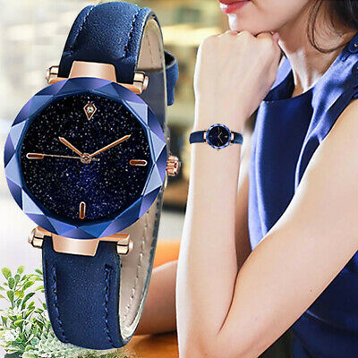 Women Luxurious Starry Dial Leather Band Stainless Steel Quartz Analog Watches
