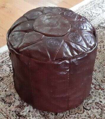 Dark brown hand crafted genuine leather pouffe in North African style