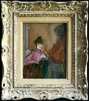 19th CENTURY FRENCH IMPRESSIONIST OIL PANEL - TOULOUSE LAUTREC - SKETCH WOMAN