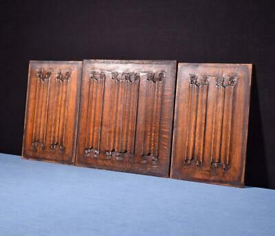 *Set of Antique Gothic Revival Solid Oak Wood Panels w/Linen Fold Carvings