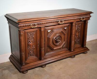 *Antique French Renaissance Revival Sideboard/Buffet in Walnut with Lion Door