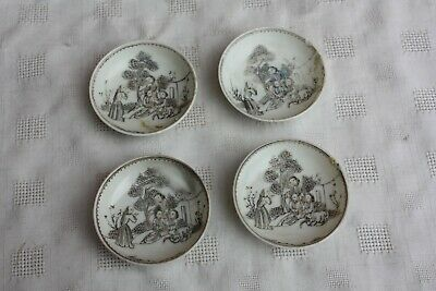 Set of Four 18th Century Chinese Grisaille Saucers
