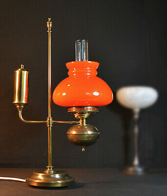 vintage 1950s heavy cast brass & Opaline cased amber glass student lamp